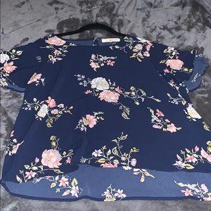 Navy Short Sleeve Floral Blouse